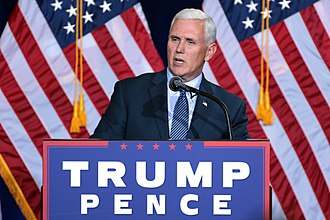 Pence speaks at a campaign rally in Phoenix, Arizona, August 2016. Mike Pence (29270325142).jpg