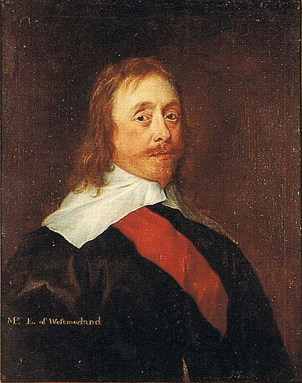 Mildmay Fane, 2nd Earl of Westmorland, KB, with sash, c.1630. Mildmay Fane in oils.jpg