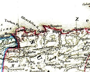 Djémila - Cuicul on the map of Numidia, just south of Milevium and Cirta.Atlas Antiquus, H. Kiepert, 1869