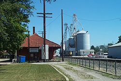 Milford, Illinois Village Hall and Grain Elevator.
