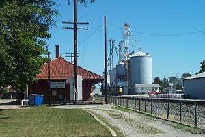 Milford, Illinois - Milford, Illinois Village Hall and Grain Elevator.