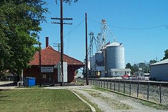 Milford, Illinois - Milford Village Hall and grain elevator