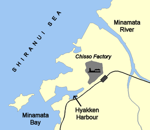 Minamata Bay - Map of Minamata Bay and the Chisso factory