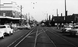 Alexandria, New South Wales - Tram lines, Mitchell Road, early 1950s