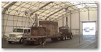 Cargo scanning - A truck entering a gamma-ray radiography system