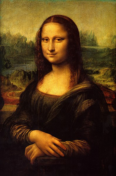The Mona Lisa, between 1503 and 1505, by Leonardo da Vinci, Oil on poplar, The Louvre Museum.