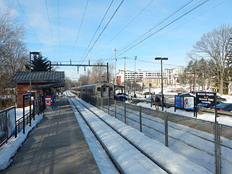 Montclair-Boonton Line - A westbound train departs Montclair Heights in February 2015.