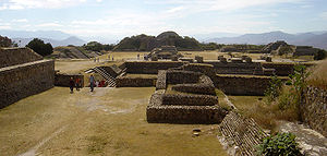Monte Albán - View of Main Plaza from the North Platform. The South Platform can be seen in the distance.