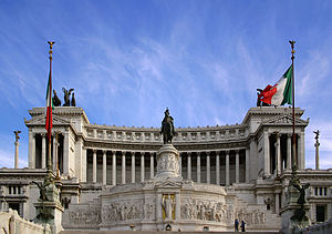 Flag of Italy -  The Italian tricolor, flying at Vittoriano, Rome