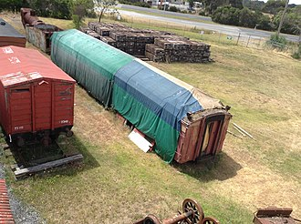 Moorooduc railway station - Image: Moorooduc 'Mc Donalds car' under restoration