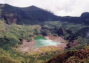 Mount Awu - A shallow lake partially fills the summit crater in 1995