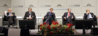 Munich Security Conference - 48th Munich Security Conference 2012: From left - Mario Monti, Josef Ackermann, Robert B. Zoellick, Peer Steinbrück, George Soros