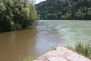 Lavant (river) - Image: Muendung der Lavant in die Drau