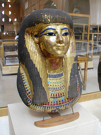Tjuyu - Gilded cartonnage mask of Thuya in the Cairo Museum