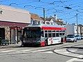 Muni route 18 bus at 46th Avenue and Taraval, June 2018.JPG