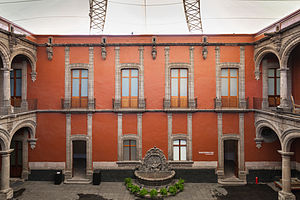 Museum of the City of Mexico - Frontal view of the courtyard from the upper floor.