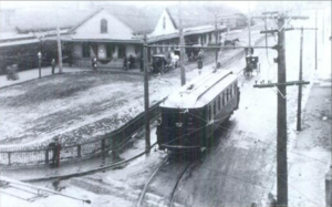 Westerly station - Original depot between 1906 and 1912, with a Norwich and Westerly Railway trolley