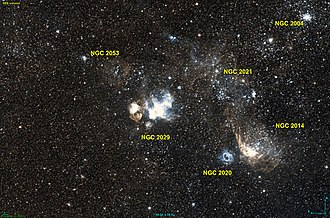 NGC 2029 - The emission nebula NGC 2029 in the centre, with NGC 2053 north-west of it and NGC 2020, south-east of the nebula