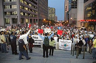 2006 United States immigration reform protests - Thousands gather in favor of immigrants' rights in Nashville, Tennessee on March 29, 2006