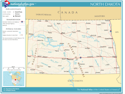 North Dakota Wikipedia - North dakota map united states