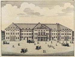 Il Nationaltheater di Mannheim (incisione dei fratelli Klauber, 1782)