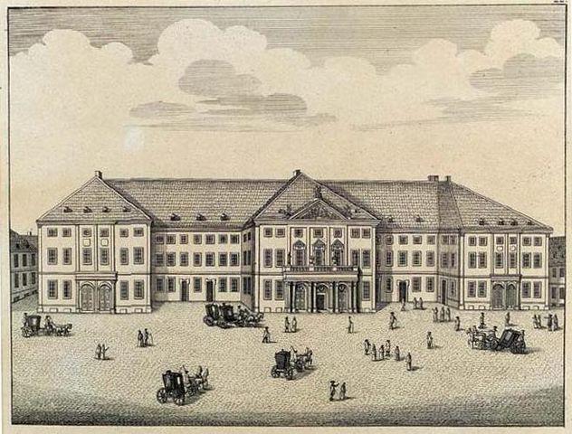 «Немецкий дом комедии» в Мангейме, медная гравюра, 1782. В нём были поставлены некоторые пьесы Шиллера