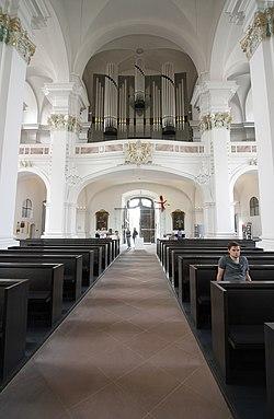 Nave looking towards the entrance - Jesuitenkirche - Heidelberg - Germany 2017.jpg