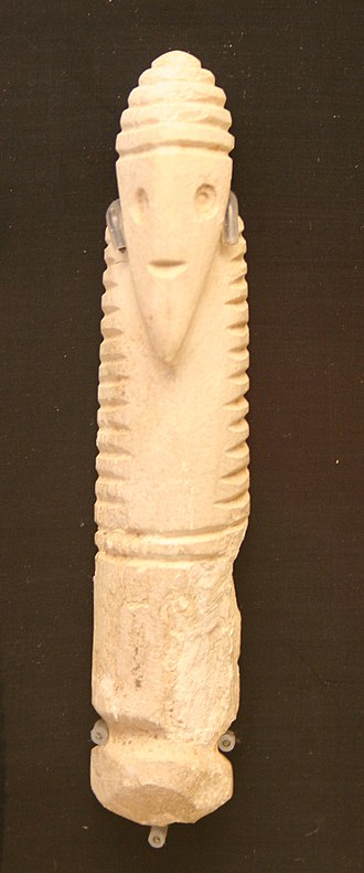 Gerzeh culture - Ancient ivory amulet of a bearded man from the Gerzeh culture held at the Staatliche Sammlung für Ägyptische Kunst