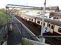 Neilston Railway Station with towards Uplawmoor, Renfrewshire, Scotland.JPG