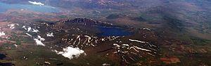 Caldera - Oblique aerial photo of Nemrut Caldera, Van Lake, Eastern Turkey