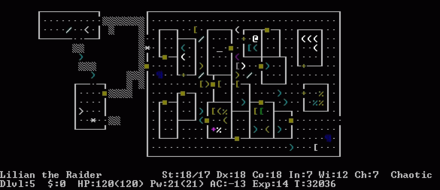 Nethack is a roguelike game. The text display seen here is common in games in the roguelike genre. Nethack screenshot.png