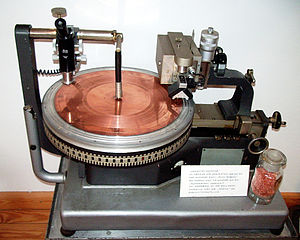 Direct metal mastering - DMM copper disc sitting on the turntable of a Neumann AM131 lathe, built in the 1930s