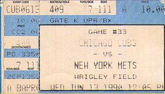 1990 New York Mets season - A ticket for a  1990 game between the New York Mets and the Chicago Cubs.