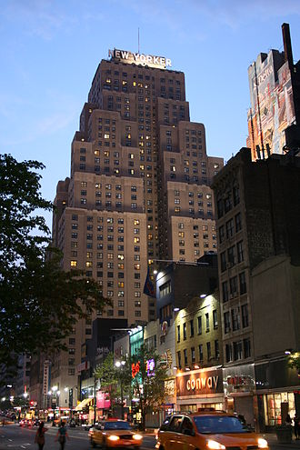 Wyndham New Yorker Hotel - At night, looking west from 34th Street