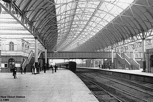 Birmingham New Street railway station - Midland Railway's extension of New Street station, in 1885.