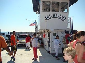 "Madeline Island - The ferry Nichevo II, about to leave for Madeline Island. Nichevo is Russian for ""no matter""."