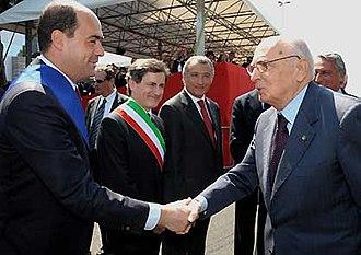 Nicola Zingaretti - Zingaretti with Mayor Gianni Alemanno, Governor Piero Marrazzo and President Giorgio Napolitano in 2008