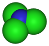 Space-filling model of nitrogen trichloride