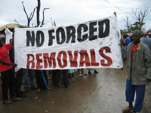 Abahlali baseMjondolo protest in Durban No Forvced Removals.jpg