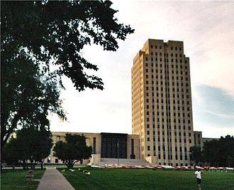 Index of North Dakota-related articles - The North Dakota State Capitol in Bismarck