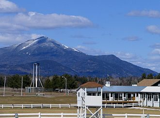 North Elba, New York - The North Elba Showgrounds, showing the Horse Rings, Olympic Cauldron, and Whiteface Mountain
