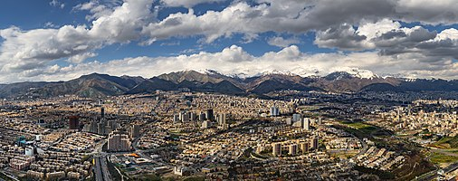 north of tehran from above of the milad tower