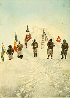 The Conquest of the Pole - Hand-colored photograph of Peary's team at the North Pole