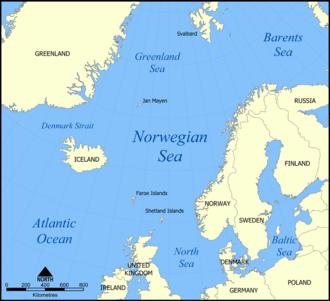 Northern Barrage - Map of the Norwegian Sea