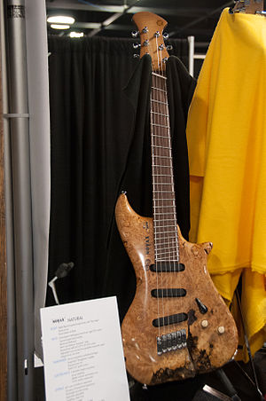 Multi-scale fingerboard - Image: Novax Natural fanned fret guitar 2014 NAMM Show