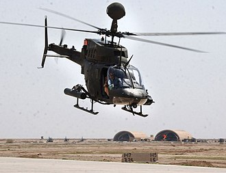 42nd Combat Aviation Brigade - OH-58D from the 1st Squadron, 17th Cavalry Regiment returns to Forward Operating Base Mackenzie, Iraq, 2005.