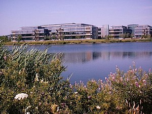 Office buildings on Bedfont Lakes Industrial Estate. These commercial buildings help to finance the creation