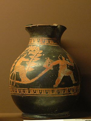 Anthesteria - Attic red-figure oinochoe depicting a young boy pulling another boy's chariot, perhaps a parody of the Anthesteria's hierogamy (430–390 BC)