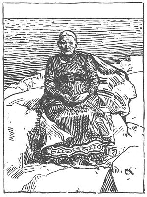 Gunnhild, Mother of Kings - Gunnhild as an old woman. Illustration by Krohg.