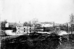 Joseph Kellogg - Onward, steamboat built by Joseph Kellogg, at Salem during flood of 1861
